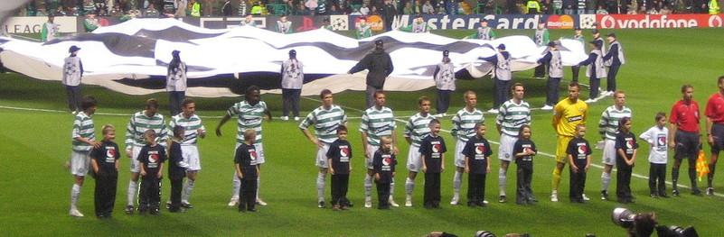 Child Mascots with Celtic lining up before the Benfica game