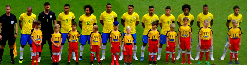 Brazil line up with child mascots