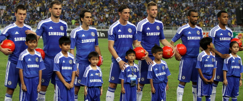 chelsea child mascots line up before game