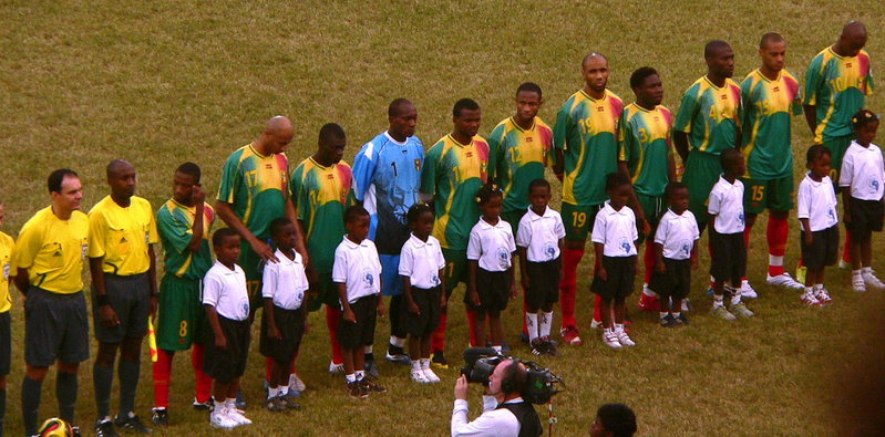 Child mascots in Mali line up
