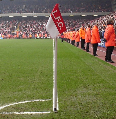 Square corner flag at Anfield, home of Liverpool FC