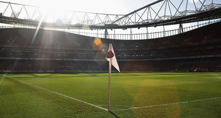 Emirates Stadium corner flag with Arsenal Logo
