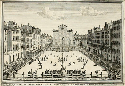 A Calcio Fiorentino game played at Piazza Santa Croce, Florence, Italy in 1688