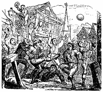 A mob football match played at London's Crowe Street. 1721