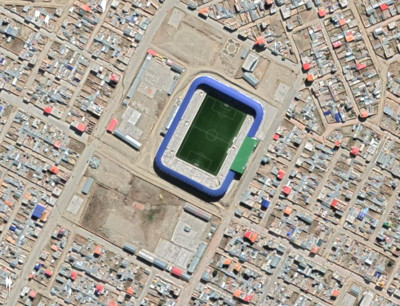 Municipal Stadium of El Alto 4090 meters above sea level, from above