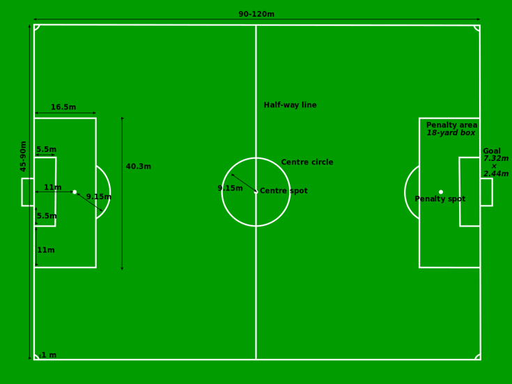 graphic of football pitch dimensions