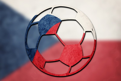 football painted in czech flag colours
