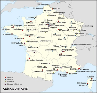 French Football Teams Location