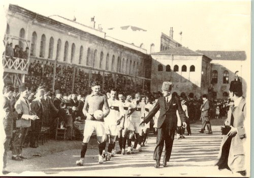 Turkey national football team in their first ever match against Romania in Taksim Stadium, Istanbul (26 October 1923).