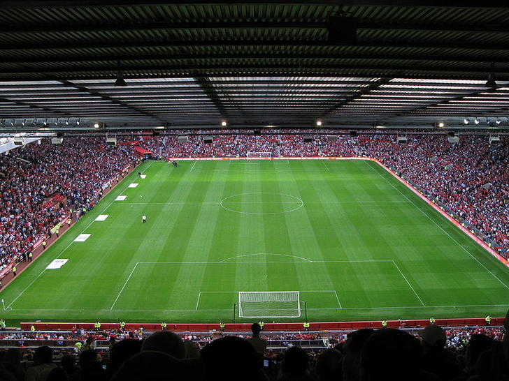 high up view at old trafford