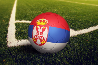 Football With Serbia Flag