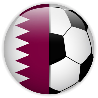 football with qatar flag